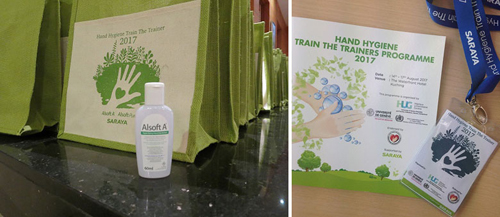 TTT program bag with SARAYA logo design and Saraya Goodmaid Alsoft A hand disinfectant was given to all participants.