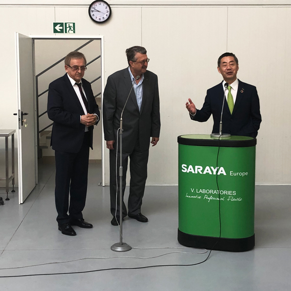 Mr. Saraya giving a speech together with, from left to right, Mr. Nowakowski (C.E.O.) and Mr. Miczorek (Director) of Saraya Poland.