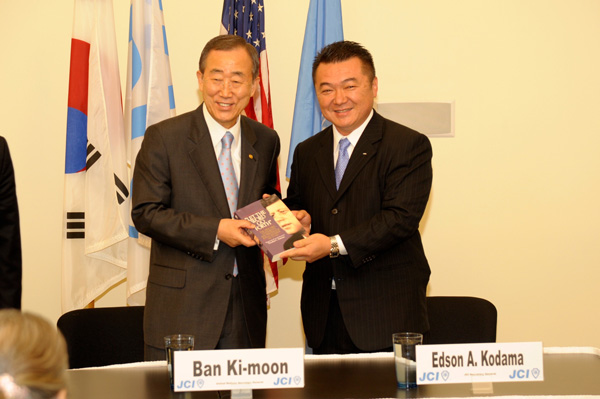 UN Secretary General Ban Ki-moon when he visited JCI World Headquarters in Chesterfield, St. Louis, MO.