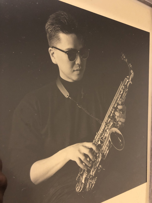 A young Daishima with his saxophone