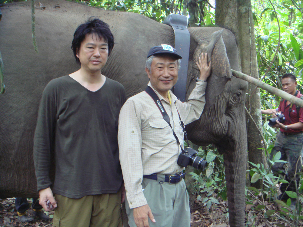Posing with a rescued Borneo Elephant.
